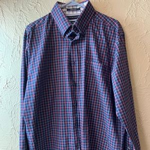 MEN'S TOMMY HILFIGER SHIRT BLUE plaid 80s 2-PLY